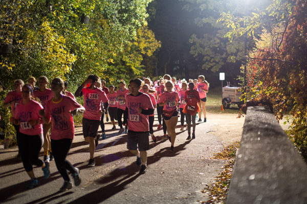 Homecoming 5k running on the path