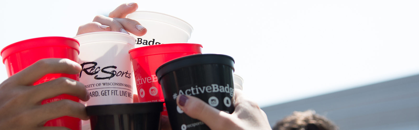 "photo of students ""cheersing"" Activebadger Day cups"