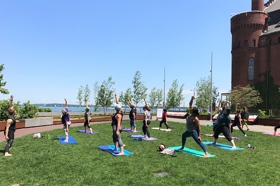 alumni park yoga class